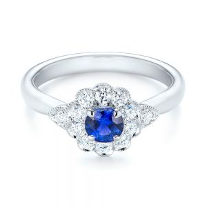 Blue Sapphire and Diamond Floral Halo Ring