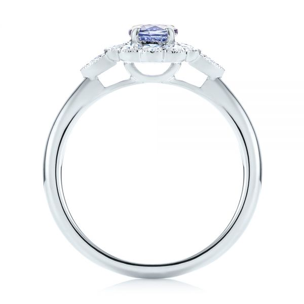 Blue Sapphire and Diamond Floral Halo Ring - Front View -  103768 - Thumbnail