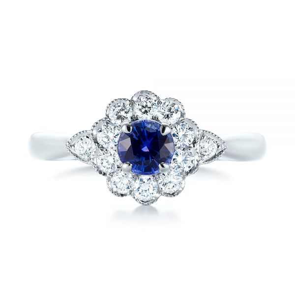 Blue Sapphire and Diamond Floral Halo Ring - Top View -  103768 - Thumbnail