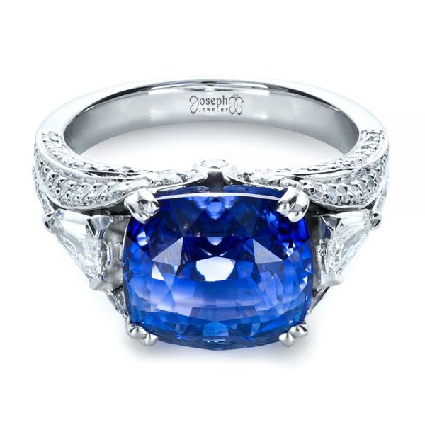 Blue Sapphire and Diamond Ring - Flat View -  1273 - Thumbnail