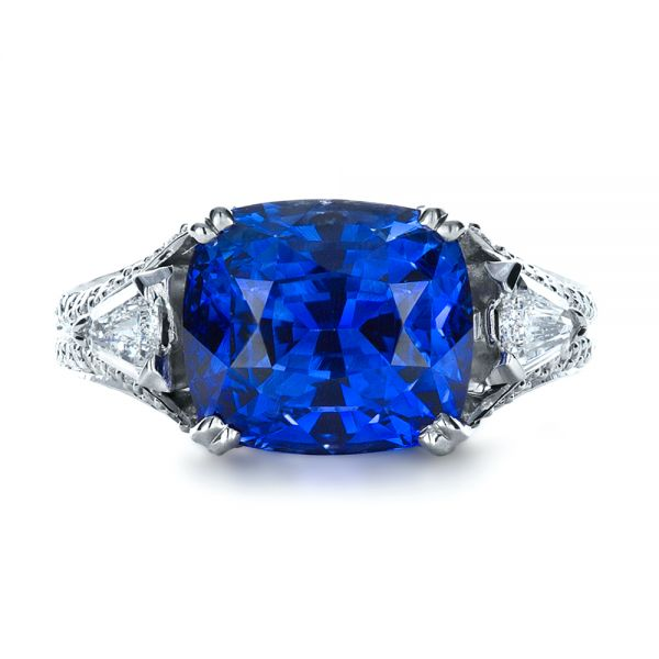 Blue Sapphire and Diamond Ring - Top View -  1273 - Thumbnail