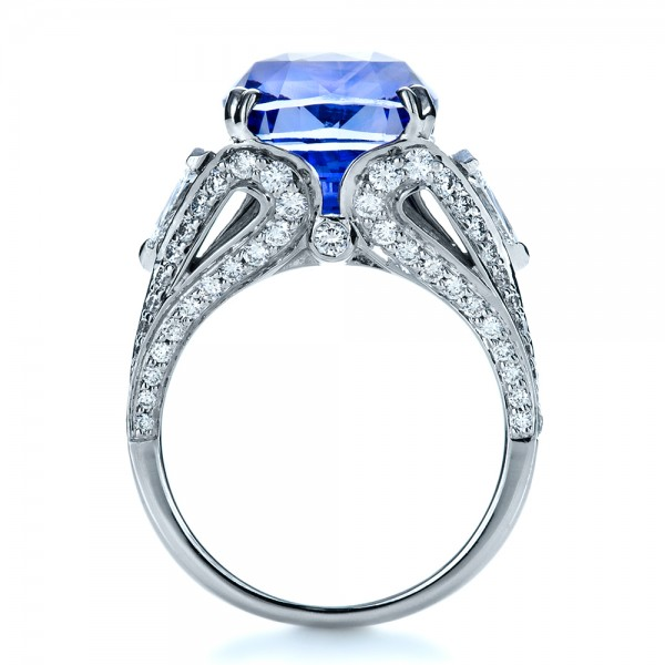 Blue Sapphire and Diamond Ring - Front View -  1273 - Thumbnail