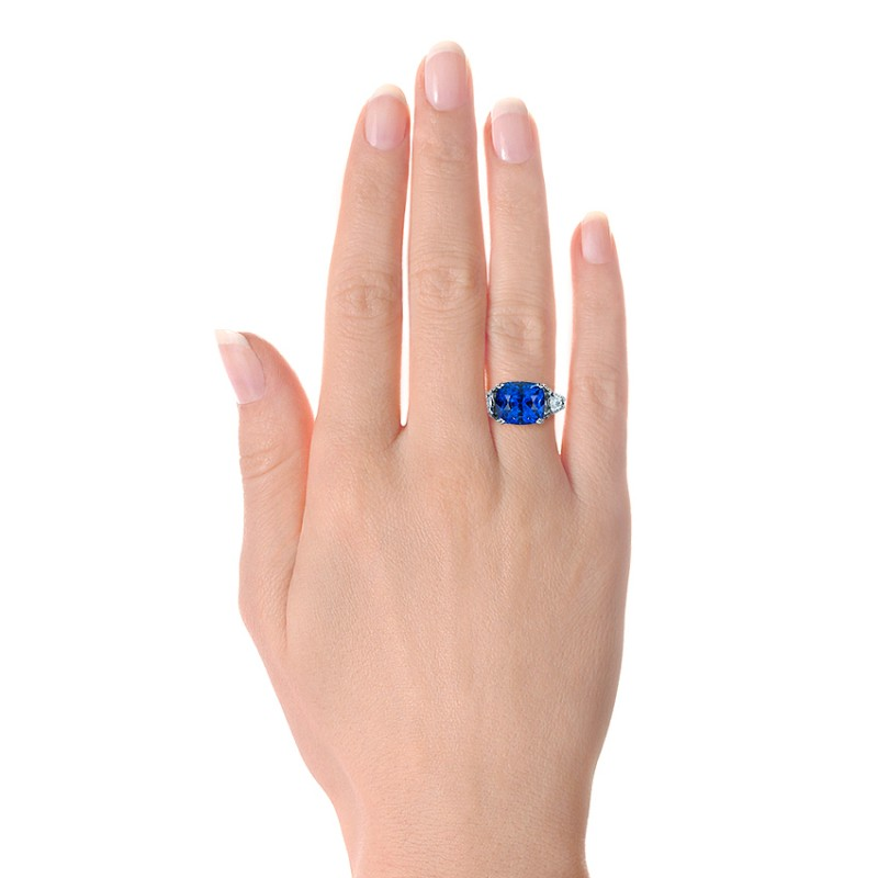 Blue Sapphire and Diamond Ring - Hand View -  1273 - Thumbnail