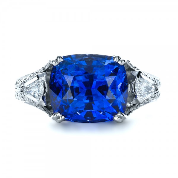 Blue Sapphire and Diamond Ring 1273