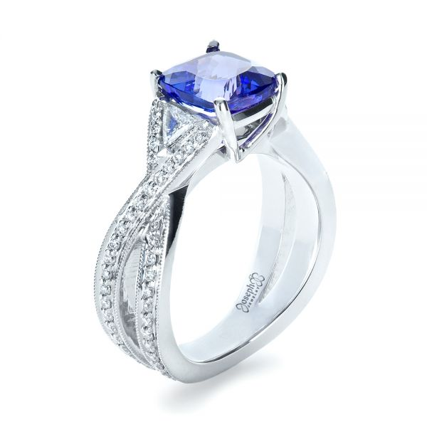 Blue Tanzanite Criss-Cross Engagement Ring  - Three-Quarter View -  1314 - Thumbnail