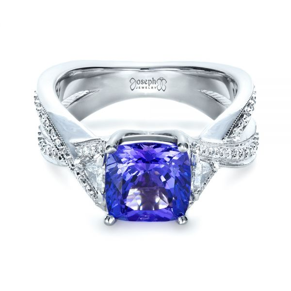 Blue Tanzanite Criss-Cross Engagement Ring  - Flat View -  1314 - Thumbnail