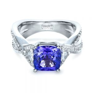 Blue Tanzanite Criss-Cross Engagement Ring