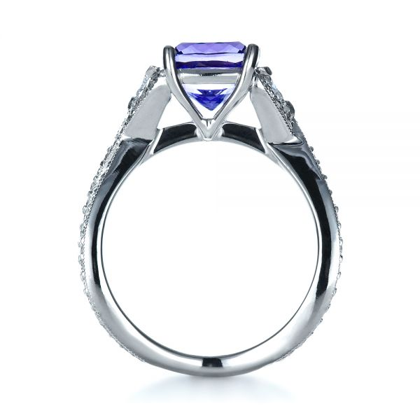 Blue Tanzanite Criss-Cross Engagement Ring  - Front View -  1314 - Thumbnail