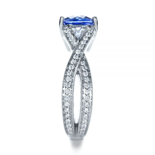 Blue Tanzanite Criss-Cross Engagement Ring  - Side View -  1314 - Thumbnail