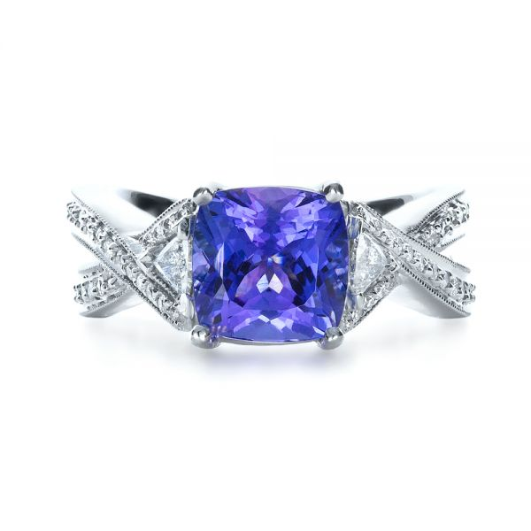 Blue Tanzanite Criss-Cross Engagement Ring  - Top View -  1314 - Thumbnail