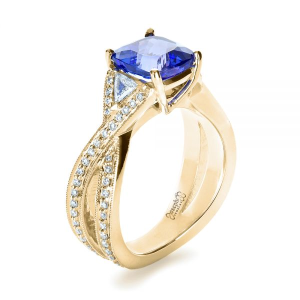 14k Yellow Gold 14k Yellow Gold Blue Tanzanite Criss-cross Engagement Ring - Three-Quarter View -  1314