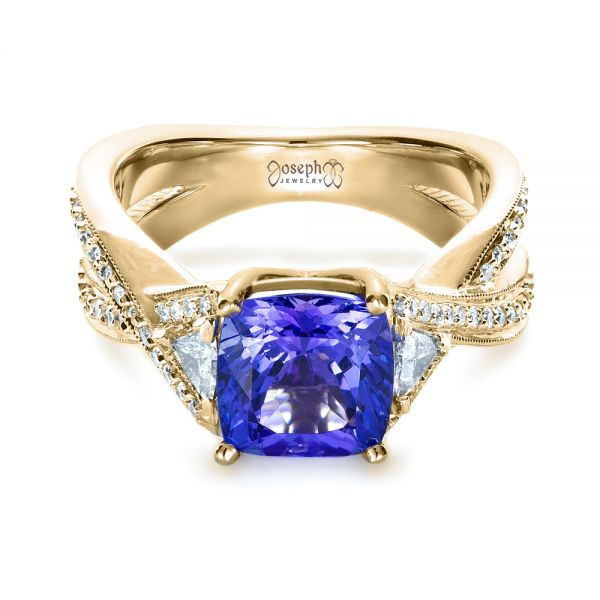 14k Yellow Gold 14k Yellow Gold Blue Tanzanite Criss-cross Engagement Ring - Flat View -  1314
