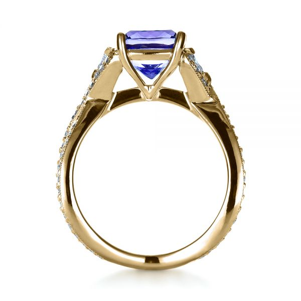 14k Yellow Gold 14k Yellow Gold Blue Tanzanite Criss-cross Engagement Ring - Front View -  1314