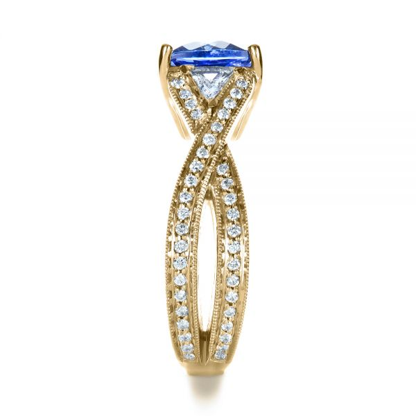 14k Yellow Gold 14k Yellow Gold Blue Tanzanite Criss-cross Engagement Ring - Side View -  1314