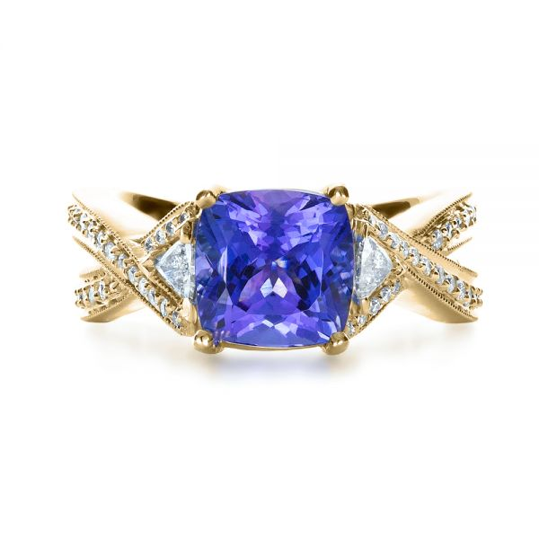 14k Yellow Gold 14k Yellow Gold Blue Tanzanite Criss-cross Engagement Ring - Top View -  1314