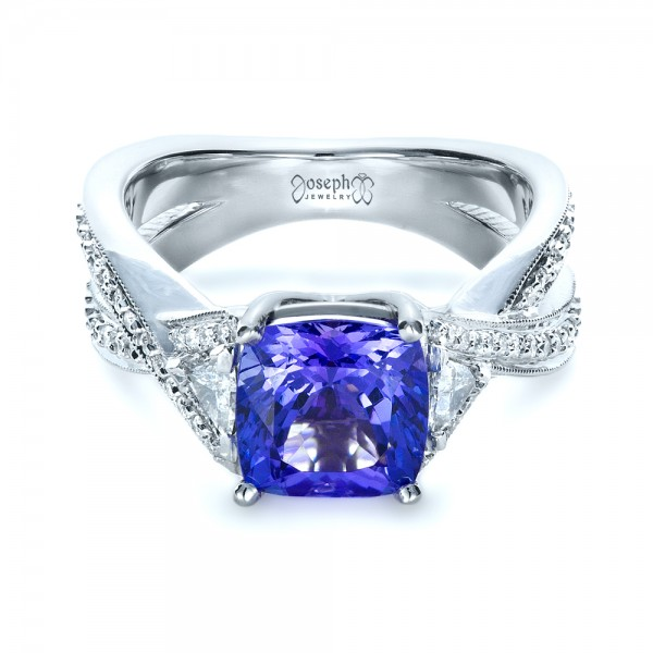 Blue Tanzanite Criss-Cross Engagement Ring  - Laying View