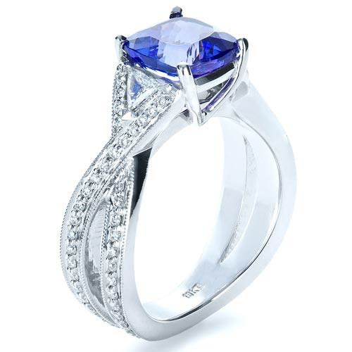 Blue Tanzanite Criss-Cross Engagement Ring  - Finger Through View