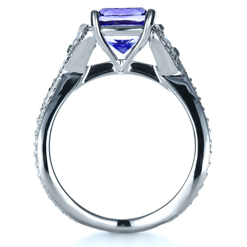 Blue Tanzanite Criss-Cross Engagement Ring  - Side View