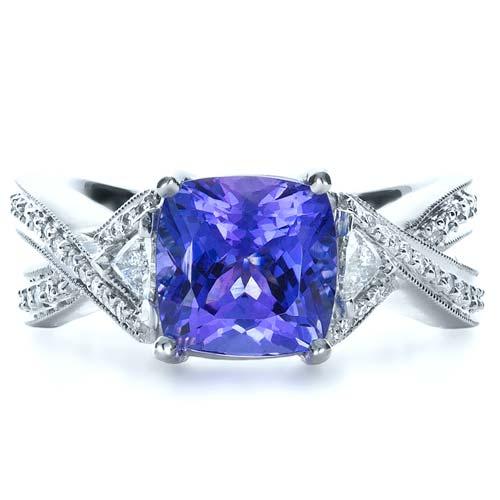 Blue Tanzanite Criss-Cross Engagement Ring  - Top View