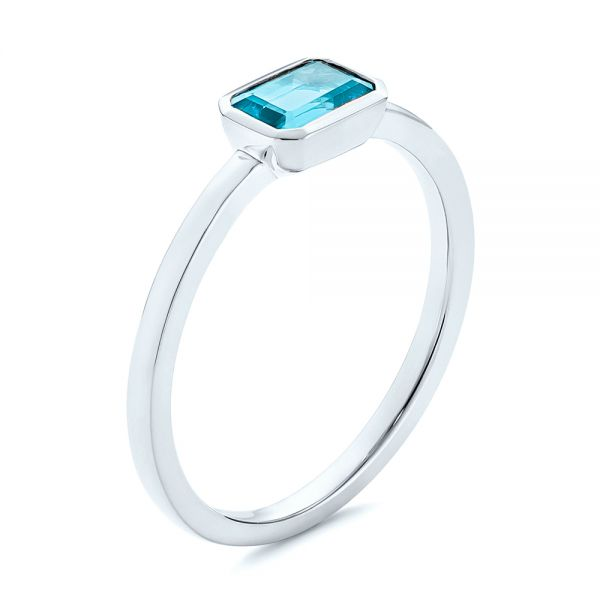 Blue Topaz Emerald Cut Fashion Ring - Image