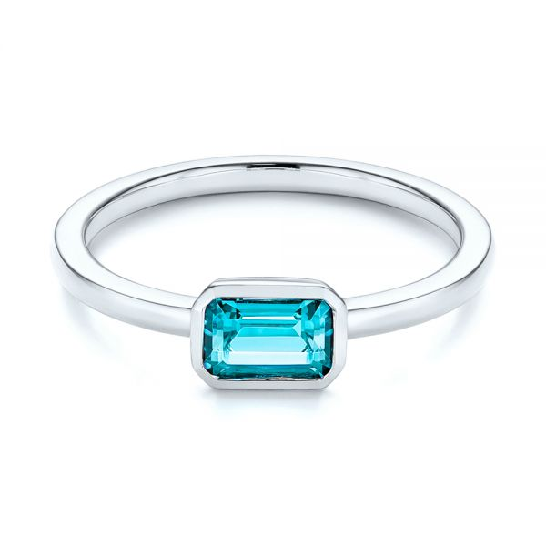 14k White Gold Blue Topaz Emerald Cut Fashion Ring - Flat View -  105436