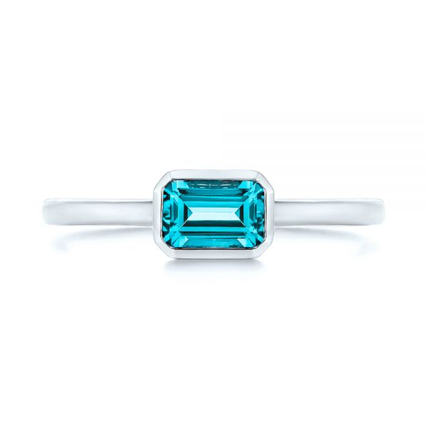 14k White Gold Blue Topaz Emerald Cut Fashion Ring - Top View -  105436