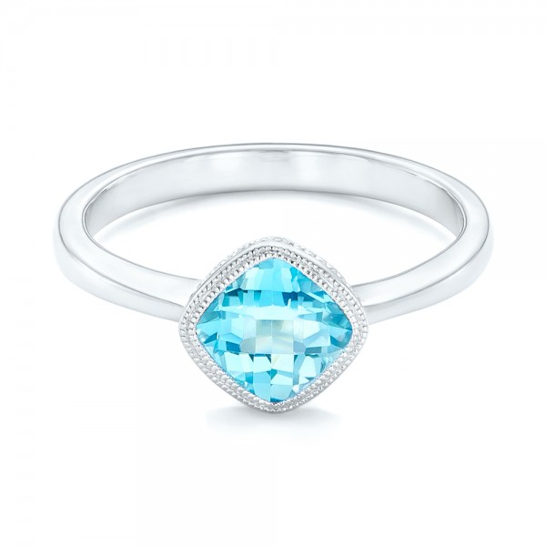 Solitaire Blue Topaz Ring - Laying View