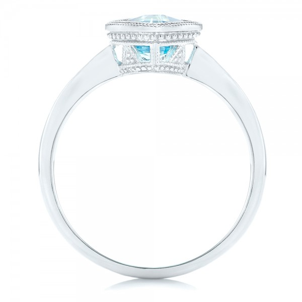Solitaire Blue Topaz Ring - Finger Through View