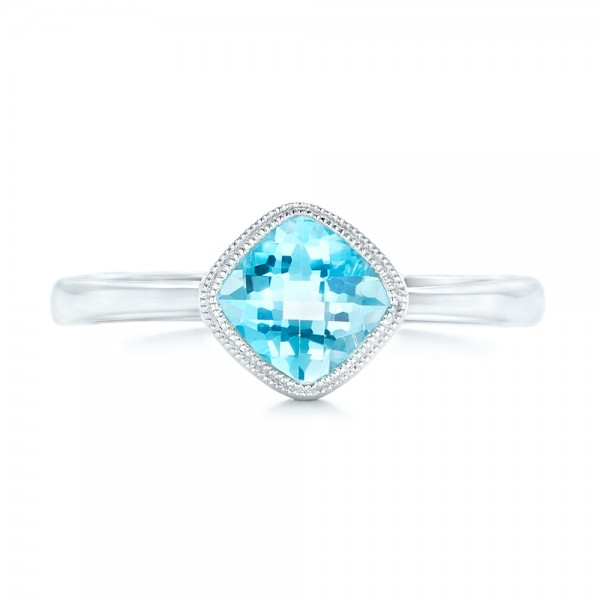 Solitaire Blue Topaz Ring - Top View
