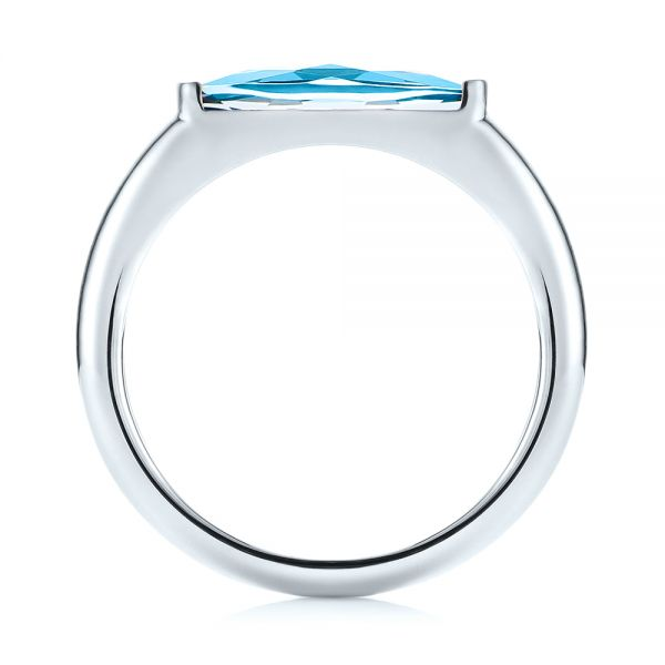 14k White Gold Blue Topaz Stackable Fashion Ring - Front View -  103760