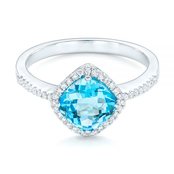 Blue Topaz And Diamond Halo Ring - Flat View -