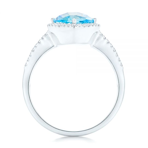 Blue Topaz And Diamond Halo Ring - Front View -