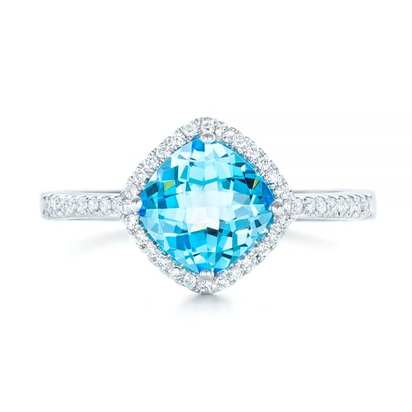 Blue Topaz And Diamond Halo Ring - Top View -