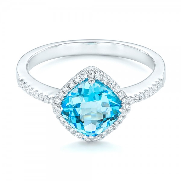 Blue Topaz and Diamond Halo Ring - Laying View