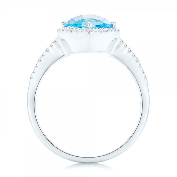 Blue Topaz and Diamond Halo Ring - Finger Through View