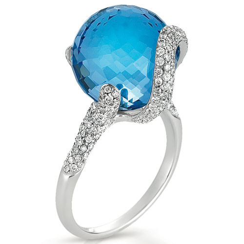 Blue Topaz and Pave Diamond Ring - Vanna K