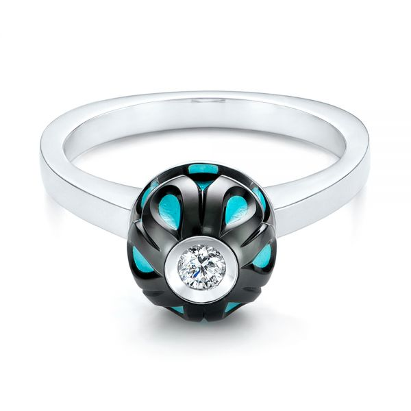 Carved Turquoise Tahitian Pearl And Diamond Ring - Flat View -