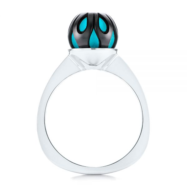 Carved Turquoise Tahitian Pearl And Diamond Ring - Front View -