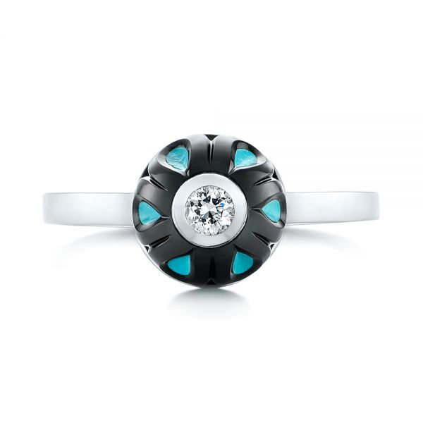 Carved Turquoise Tahitian Pearl And Diamond Ring - Top View -