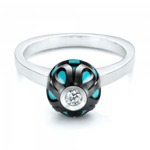 Carved Turquoise Tahitian Pearl and Diamond Ring