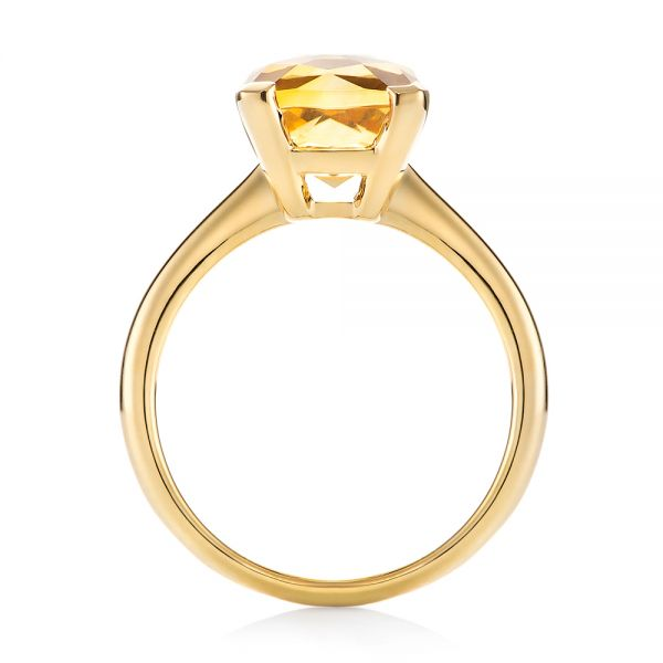 14k Yellow Gold Citrine Solitaire Fashion Ring - Front View -