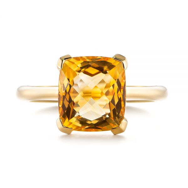 14k Yellow Gold Citrine Solitaire Fashion Ring - Top View -