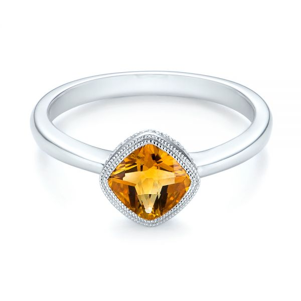 14k White Gold Citrine Vintage-inspired Solitaire Ring - Flat View -