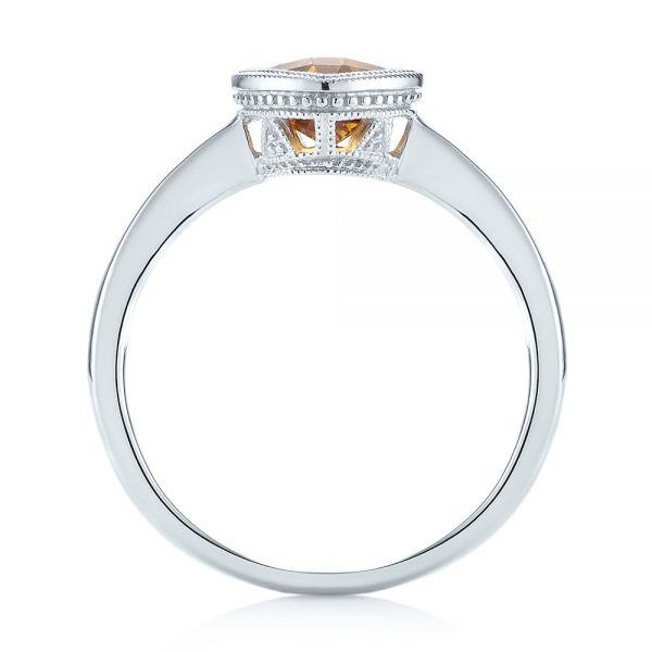 14k White Gold Citrine Vintage-inspired Solitaire Ring - Front View -