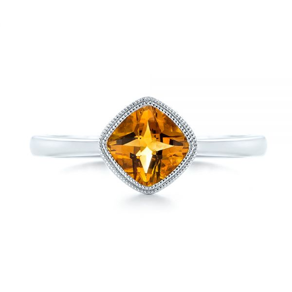 14k White Gold Citrine Vintage-inspired Solitaire Ring - Top View -