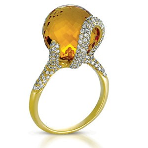Citrine and Pave Diamond Ring - Vanna K