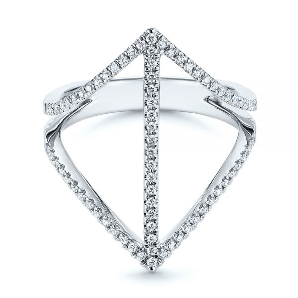 14k White Gold Contemporary Openwork Diamond Fashion Ring - Flat View -  105495 - Thumbnail