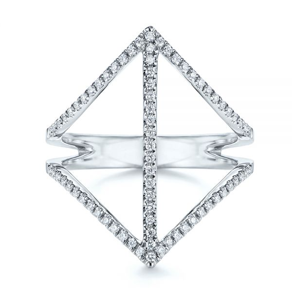 14k White Gold Contemporary Openwork Diamond Fashion Ring - Top View -  105495 - Thumbnail