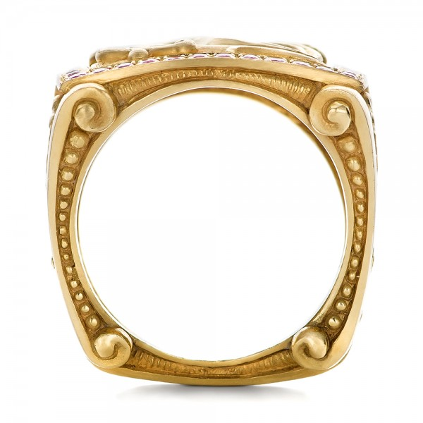 Cross and Crown Hand Carved Men's Ring - Finger Through View