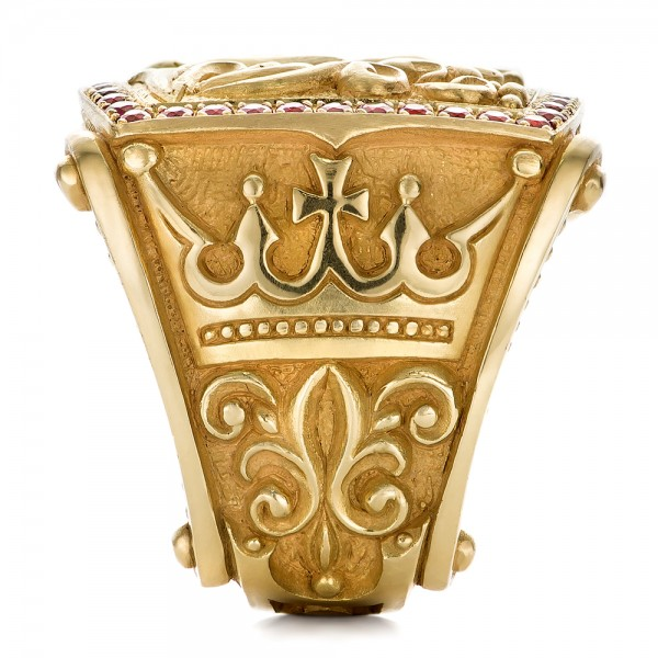Carved Stone Crown : Cross and crown hand carved men s ring  seattle